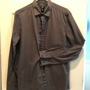 Men's H&M Gray Slim Fit Dress Shirt